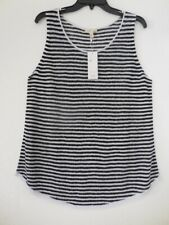 Eileen Fisher Black White Striped Linen Knit Sleeveless Tunic Top Size L NWT