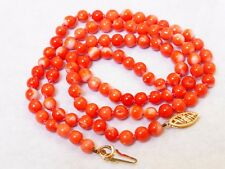 """VINTAGE NATURAL MOMO CORAL 5mm BEAD NECKLACE, 19"""" long 14g, 14k Gold clasp"""