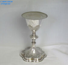 More details for antique french ornate solid 950 silver chalice & paten 520g geffroy paris c1880