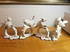Set 4-Vintage Fitz & Floyd Porcelain Birds Napkin Rings Holders w/original box