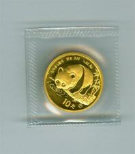 CHINA 1987-Y 10 YUAN GOLD PANDA 1/10 OZ. .999 GOLD GEM BU SEALED SLEEVE