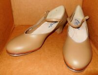 "NEW/BOX Capezio Ladies Character Shoes TAN. w/TAPS Leather Sole  1 & 1/2 "" Heel"