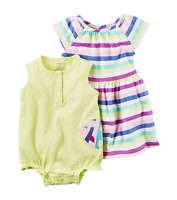 NWT Carter's® Girls 3-Pc Fish Romper and Stripe Dress with Diaper Cover Set 12M