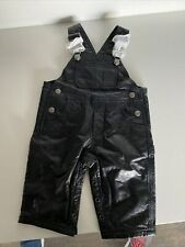 Wilsons Leather Toddler Baby Black Soft 100% Leather Bib Overalls Biker Baby