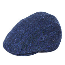 Failsworth Hats Stornoway Harris Tweed Flat Cap -navy/black 3302 60cm