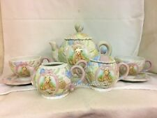 Cherished Teddies Marie Porcelain Tea Pot, 2 Tea Cup & Saucers  Sugar & Creamer
