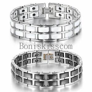 Black White Ceramic Stainless Steel Link Men's Magnetic Therapy Power Bracelet