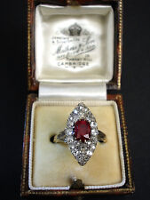 ca.1880 Victorian 1.2 Carat Burma Ruby and Diamond Marquise shape Ring in Gold