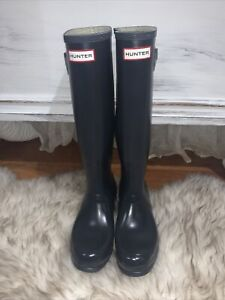 Women's Hunter Original Rain  Boots Dark Navy Blue- Size 8