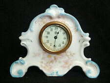 Antique Wind Up Mini New Haven China Porcelain Painted Apple Blossom Clock
