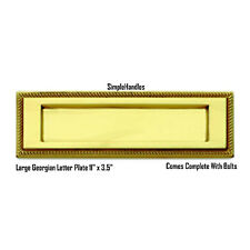 "11"" x 3.5"" Polished Brass Georgian Post Box Letter Plate Door Designer Rare"