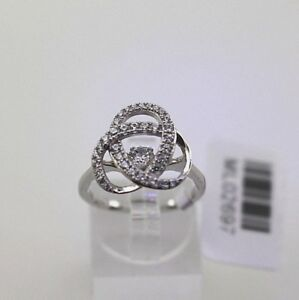 Sterling Silver Love Knot Ring with Dancing Diamond Design