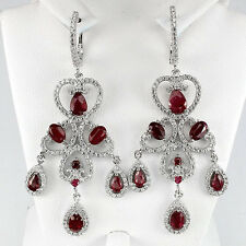 63 CTS!! DAZZLING!! NATURAL BLOOD RED RUBY & RED SAPPHIRE  925 SILVER EARRINGS