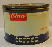 Old Vintage 1950s ELNA COFFEE GRAPHIC COFFEE TIN ONE POUND ELNA Chicago Illinois
