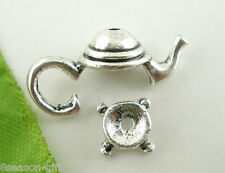 10 Sets Silver Tone Teapot Bead Cap Set Findings 21x9mm