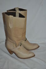 CAPEZIO WOMENS 7 M TAN LEATHER STACKED HEEL Western COWBOY TALL BOOTS rockabilly