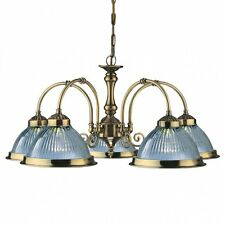 AMERICAN DINER ANTIQUE BRASS 5 LIGHT FITTING WITH CLEAR RIBBED GLASSES