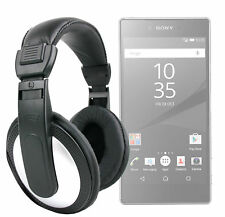 Black/Silver Over-Ear Headphones For Sony Xperia Z5 / Z5 Premium / Compact
