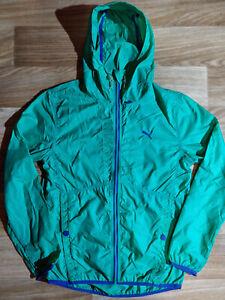 Puma Vintage Mens Tracksuit Top Nylon Hooded Jacket Turquoise Windbreaker Hoodie