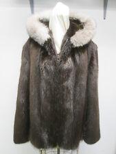 Men's Sz 48/50 New Real  Beaver Fur Coat Jacket with Hood & Fox  SALE