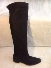 Cara Black Over Knee Leather Boots Size 38