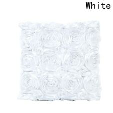 Fashion Satin Rose Flower Waist Throw Pillow Case Cushion Cover Sofa Home Decor