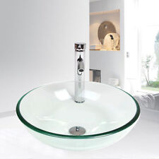 Bathroom Tempered Clear Glass Vessel Sink Bowl Chrome W/Faucet Drain Basin
