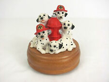 Disney Westland Dalmatian Fire Fighters Music Box Plays Smoke Gets in Your Eyes