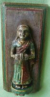 OLD VINTAGE WOODEN HAND CARVED INDIAN MUSICIAN LADY STATUE WALL HANGING INDIA