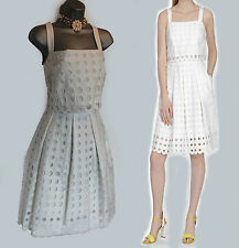 Karen Millen White Full Skirt With Eyelet Broderie Summer Dress UK 16 EU44 £145