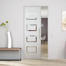 """Glass Single sliding Pocket Door System full set design  """"Rectangles"""" 84 cm"""