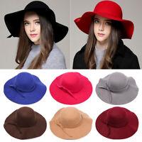 Popular Women's Wide Brim Wool Bowler Fedora Hat Floppy Cloche Sun Bowknot Cap
