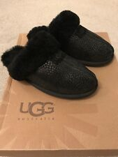 UGG Sheepskin Black Croc Skin Effect&Glittery Preowned Ladies Slippers Size 6.5