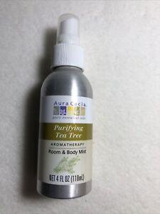 Aura Cacia Purifying Tea Tree 4oz Room & Body Mist Aromatherapy Uplifting