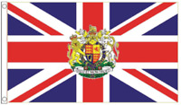 VE DAY Flag Royal Coat Of Arms 5'x3'