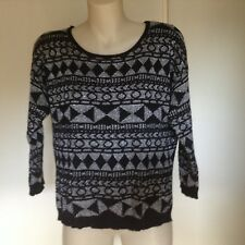 DOTTI  LONG SLEEVE BLACK AND WHITE JUMPER, SIZE M
