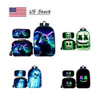 3pcs/Set DJ Marshmello Backpack School Bag Set Bookbag Lunch Bag Pen Case Gifts