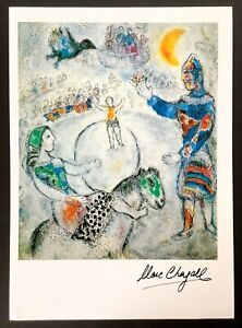 Hand signed Marc Chagall vintage circa 1970s multi-color print
