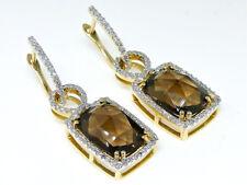 Ladies 14K Yellow Gold  White Diamond Smoky Quartz Hoop Dangle Earring 1.3 In...