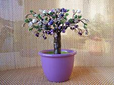 Perlenbäumchen,Muttertag,Lila-Weiß-Grün,Dekobonsai,kleiner Baum aus Perlen