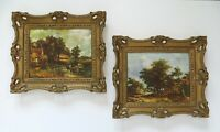 Vintage Pair of Gold Frames with Classic Country Landscape Art Prints 8 x 10