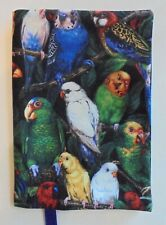 Fabric Paperback Book Cover Bird Fabric  Birds of all kinds Colorful Birds