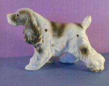 English Springer Spaniel Dog figurine-vtg Blk & white statue porcelain