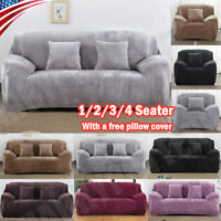 1/2/3/4 Seat VELVET Stretch Chair Sofa Couch Cover Elastic Slipcover Protector