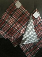 """Pottery Barn PAIR Pillow Cushion Covers 18""""x18"""" Plaid With Houndstooth Back NEW"""