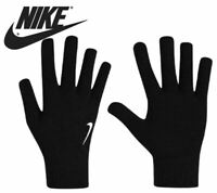 Nike Mens Boys Gloves Knitted Adults Kids Sports Gym Winter Warm  Black Swoosh