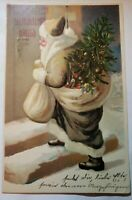 1907 BROWN Robe Santa Frohliche Weihnachts Gruss Christmas tree Postcard Germany