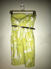 BCX Women Lime Green White Floral Strapless Bodycon Stylish Dress Size 1