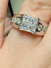 Natural 2.00 carat bridge Diamond Ring Real 14K white Gold 4 stone wedding bride