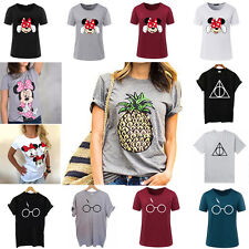 Women Summer Loose Crop Tops Tee Blouse Short Sleeve Casual Graphic T Shirt Plus